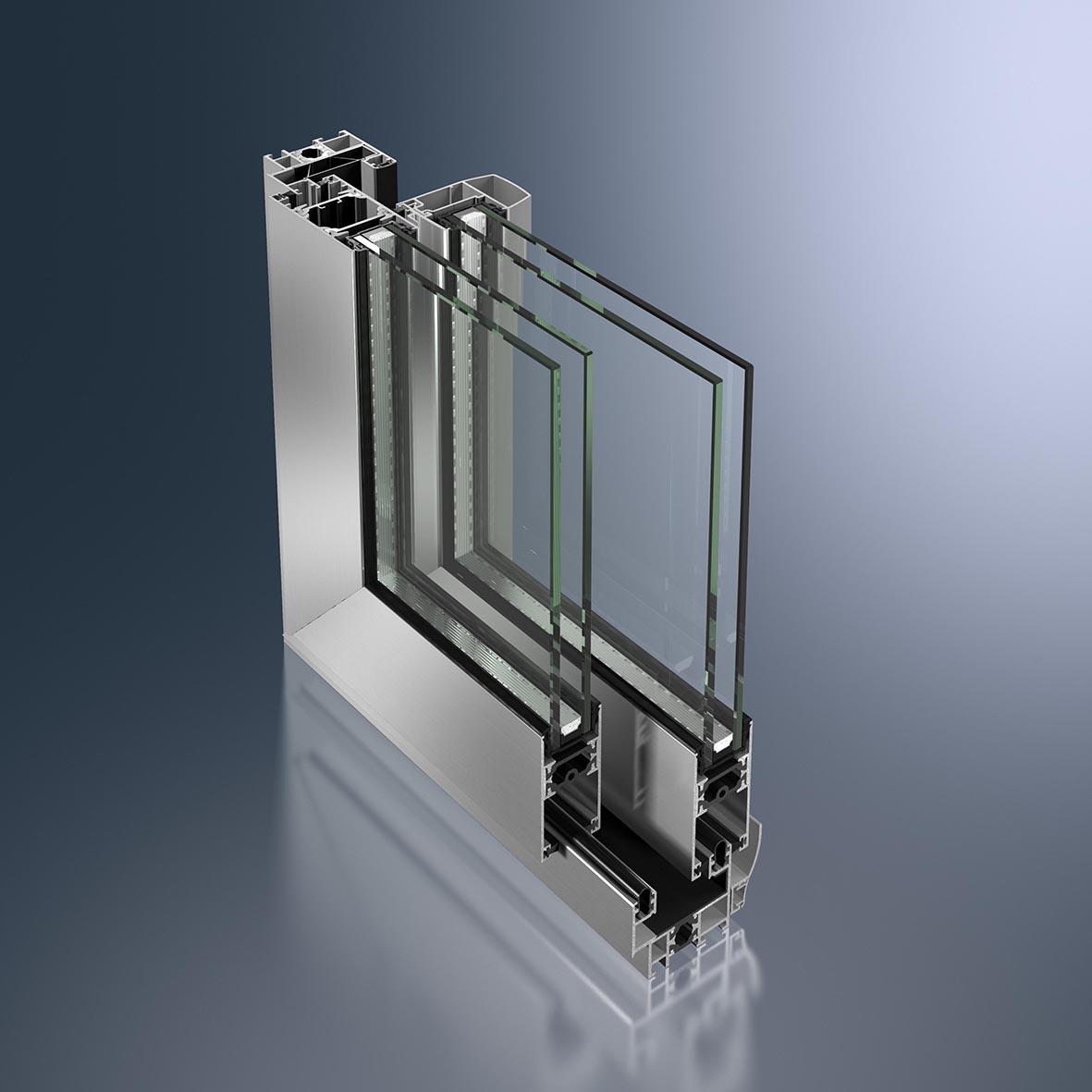 La baie coulissante menuiseries aluminium pour les for Rideaux fenetre 3 vantaux